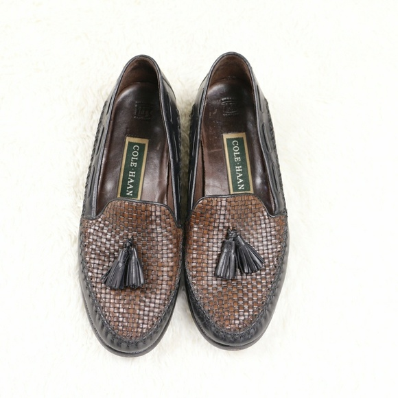 19b7019a4a980 COLE HAAN Brown Woven Leather Tassel Loafers 7.5